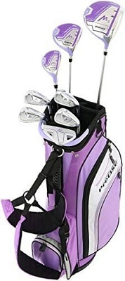 Precise M3 Ladies Womens Complete Golf Clubs Set Includes Driver, Fairway, Hybrid, 7-PW Irons, Putter, Stand Bag, 3 HC's Purple - Regular, Peti