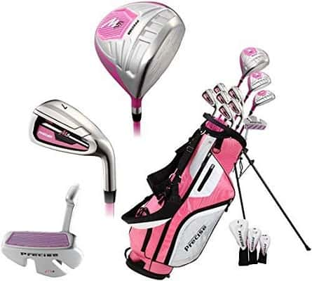 Precise M5 Ladies Womens Complete Right Handed Golf Clubs Set Includes Titanium Driver, S.S. Fairway, S.S. Hybrid, S.S. 5-PW Irons, Putter, Sta